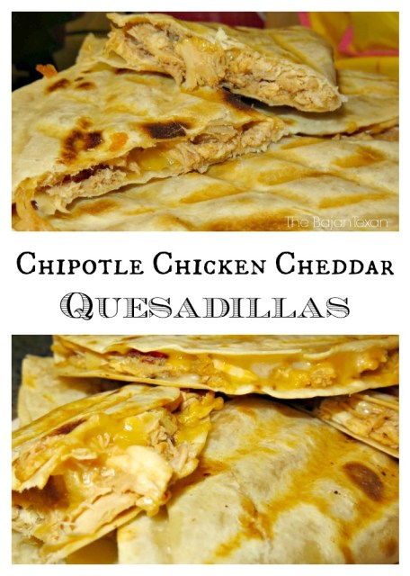 Chipotle Chicken Cheddar Quesadillas - Quick and easy recipe!