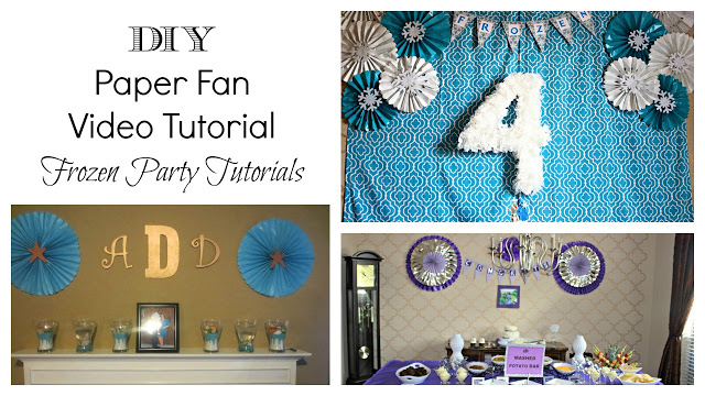 DIY Paper Fan Tutorial (Frozen Party Backdrop) - Paper fans are a lovely party decor! Check out how easy you can make several of these for your own party!