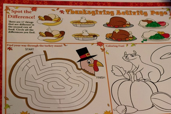 kids thanksgiving activity page