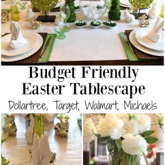 Dollar Tree Easter Chair Covers Chairs For Office Budget Friendly Tablescape Spring Blog Hop The Green