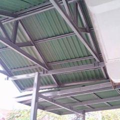 Kanopi Baja Ringan Model Segitiga Canopy Sopi Atap Gogreen Di Taman Cibiru