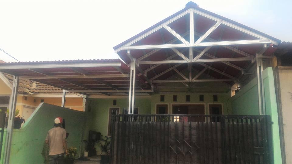 kanopi baja ringan model segitiga pelana atap gogreen di perum graha