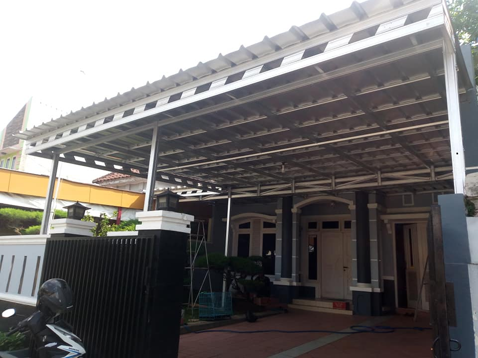 model variasi kanopi baja ringan full atap spandeck