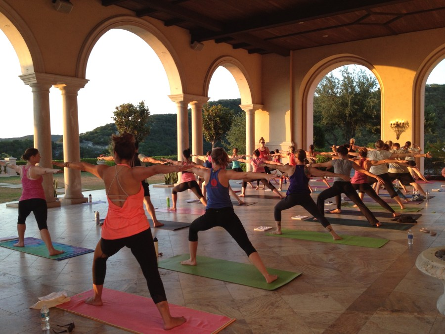 Baja Surf Yoga sunset class overlooking Lake Travis