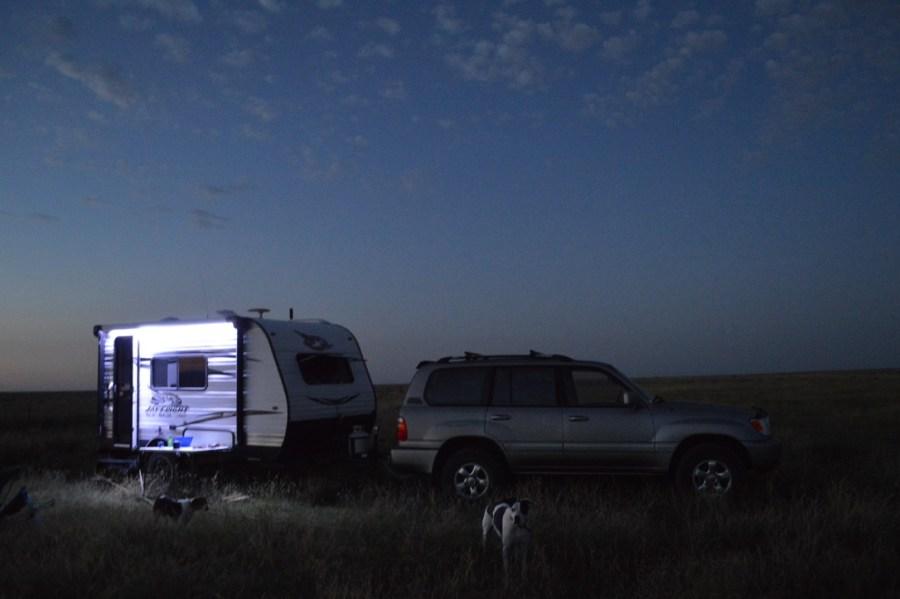 exterior RV lights against at dusk