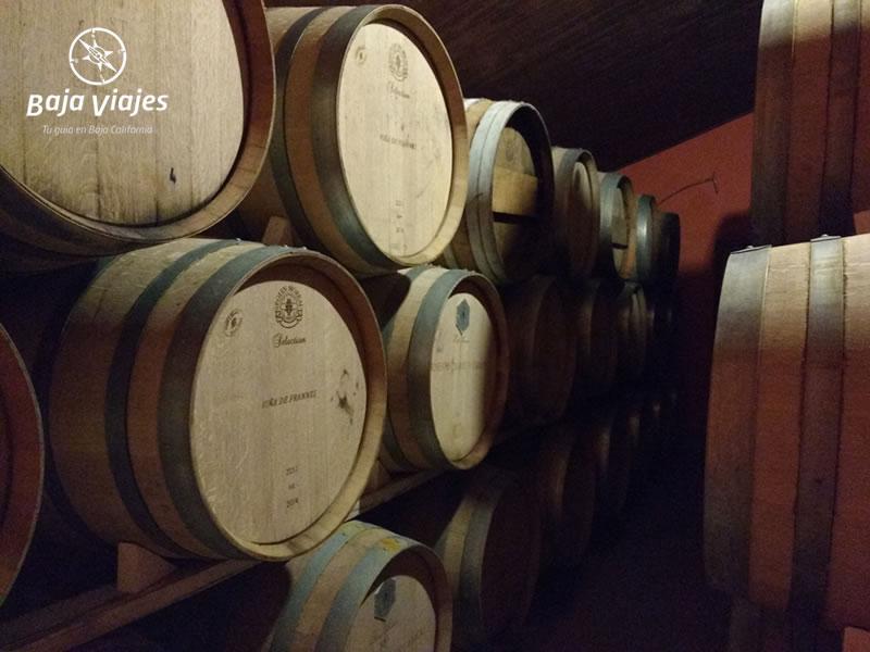Barricas de vino en Vinícola Viña de Frannes, Valle de Guadalupe