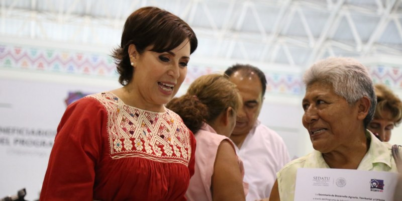 Evade Rosario Robles tema de viviendas dañadas para damnificados de Guerrero