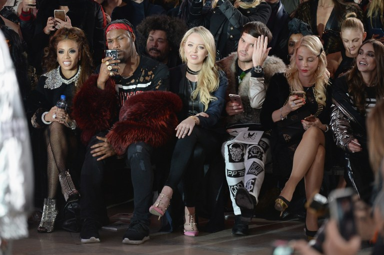 NEW YORK, NY - FEBRUARY 13: Tiffany Trump (C) attends the Front Row for the Philipp Plein Fall/Winter 2017/2018 Women's And Men's Fashion Show at The New York Public Library on February 13, 2017 in New York City. Andrew Toth/Getty Images for Philip Plein/AFP