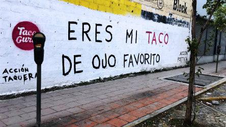 Piénsalo tu y yo y unos tacos; Acción poética se une a taquerías 1