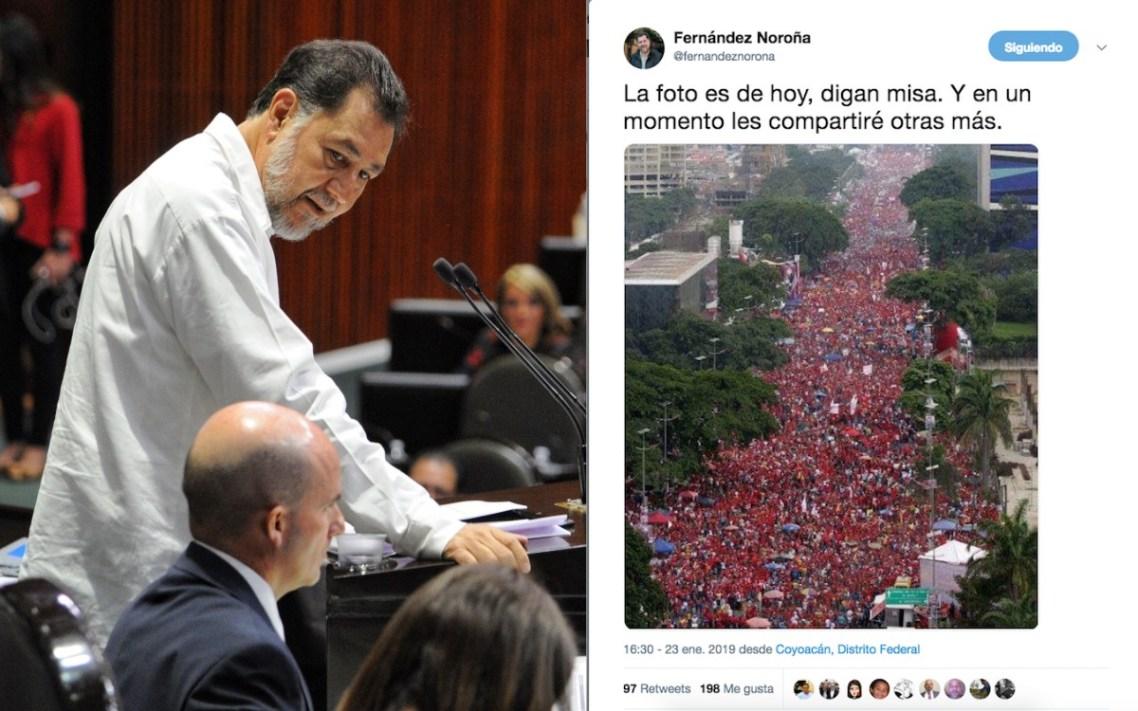 Fernández Noroña publica foto fake de apoyo a Maduro; lo tunden en redes