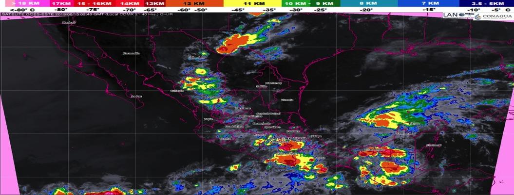 Prevén lluvias de intensas a muy fuertes en centro y sureste del país