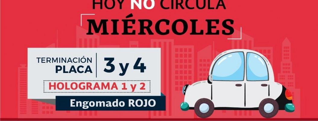 Hoy no circulan vehículos con engomado rojo y holograma 1 y 2