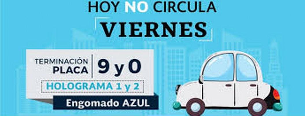 Este viernes no circulan autos con engomado azul, y placas 9 y 0