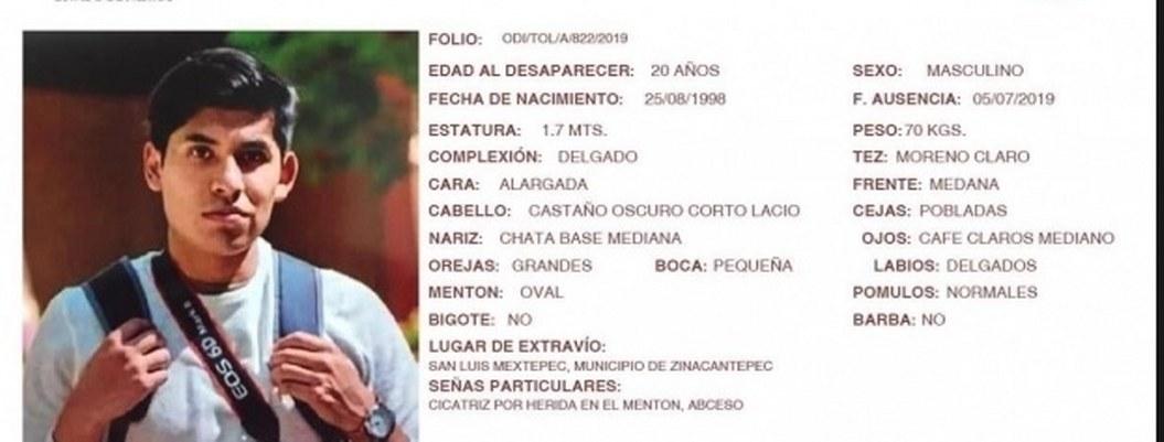 Desaparece estudiante de Contaduría de la Universidad de Edomex