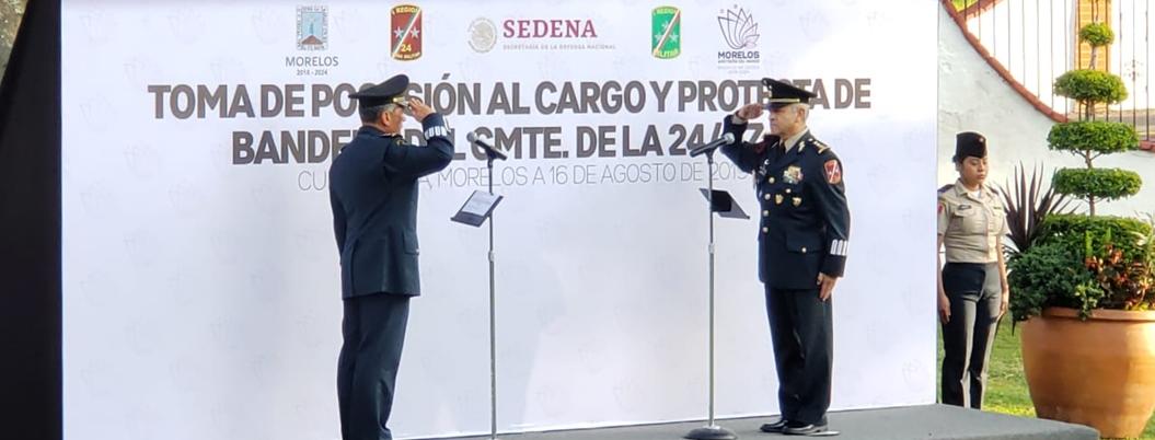 Agustín Vallejo asume comandancia de 24 Zona Militar en Morelos