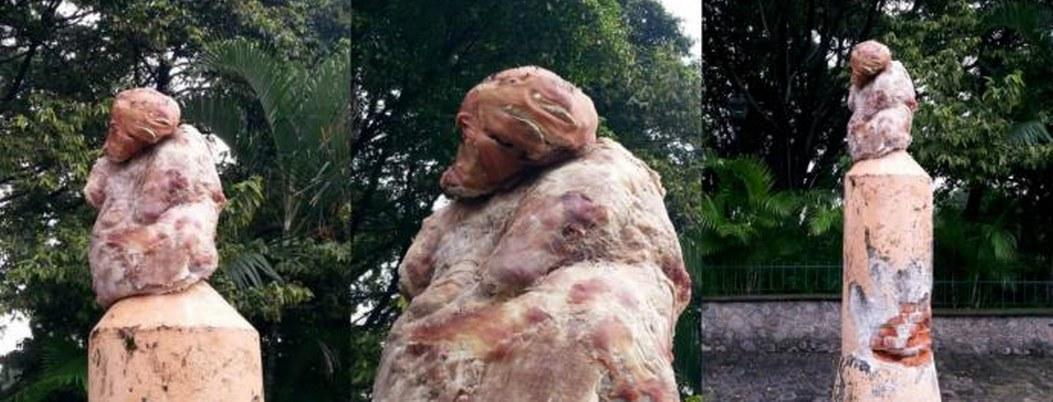 Morelos horrizado por escultura hecha con carne engrapada