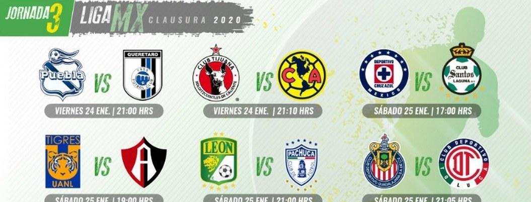 Calendario de duelos para Jornada 3 del Clausura 2020