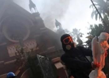Primera protesta del año en Chile deja iglesia en llamas 2
