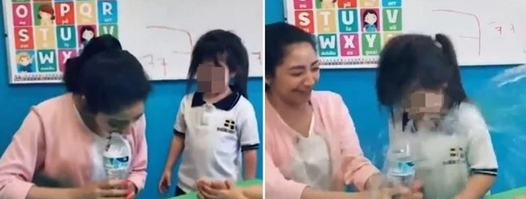 Corren a maestra por hacer reto de la botella con niña de kínder