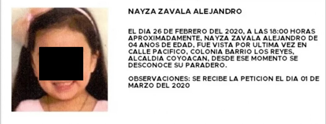 Ayuda a Nayza Zavala a regresar a casa; desapareció en la CDMX