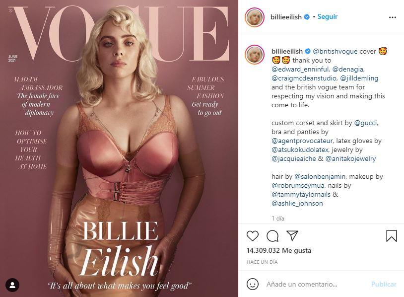 Billie Eilish impacta en lencería al posar para VOGUE   FOTOS 1