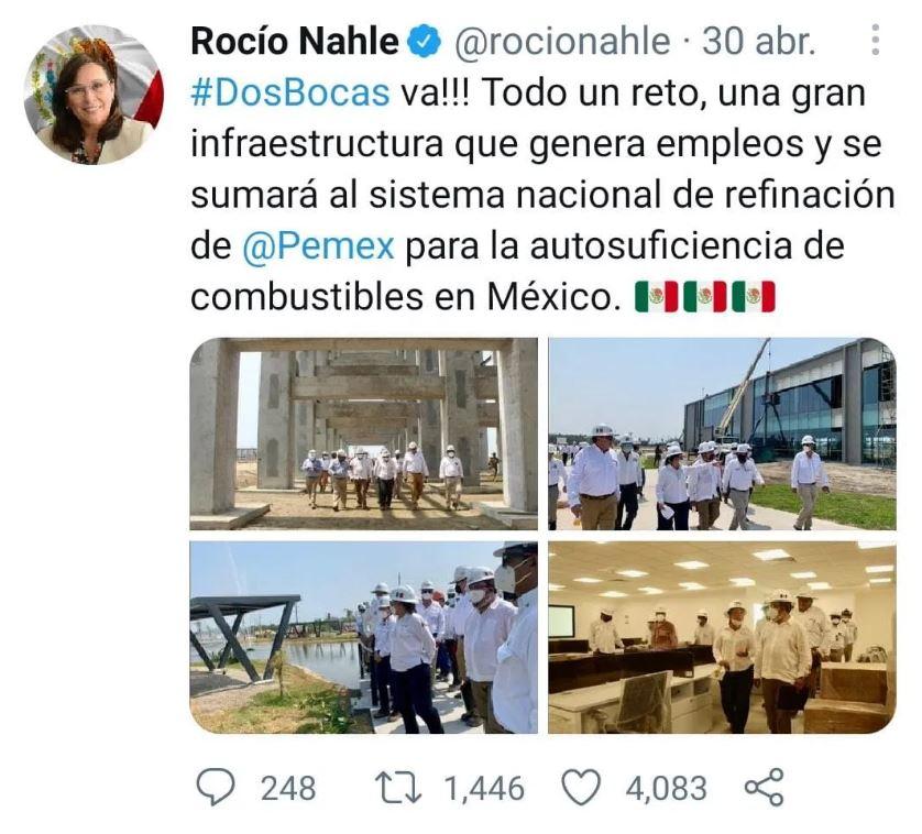 """INE ordena a Rocío Nahle eliminar dos tuits por """"promocionar"""" al gobierno 1"""