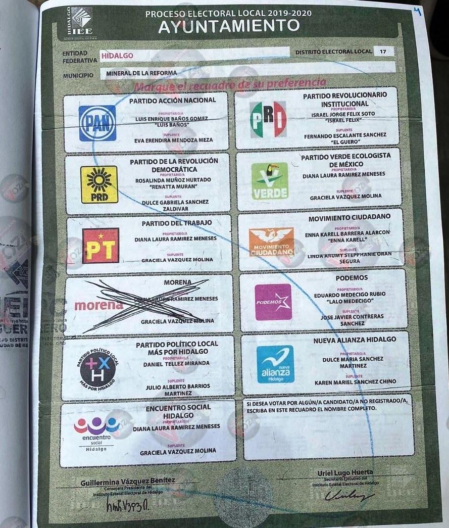 Hallan en Guerrero boleta marcada a favor de Morena de la elección 2019 en Hidalgo 1