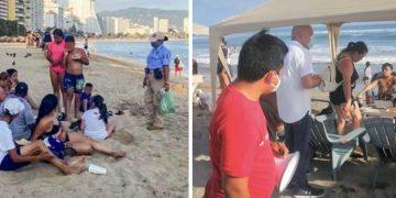 Turistas violan cierre de playas en Acapulco; los desalojan 7