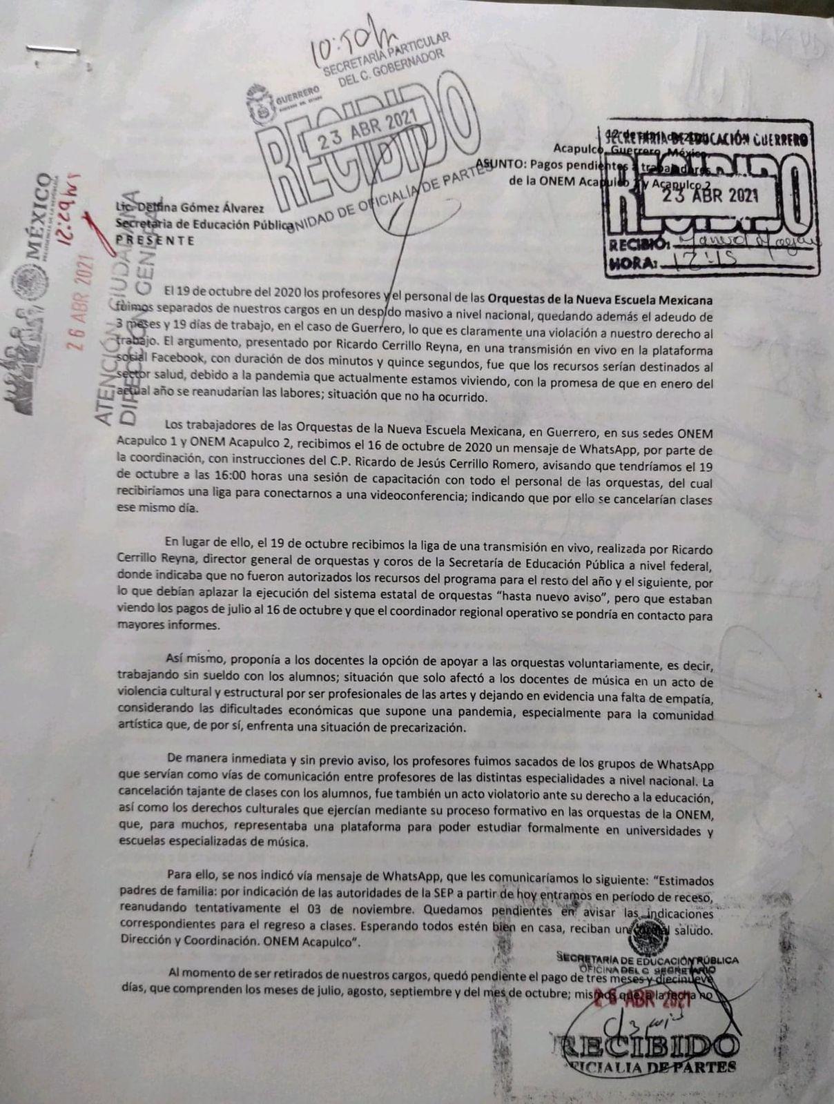 Gobierno de Guerrero también adeuda salarios a ex maestros de la ONEM 1