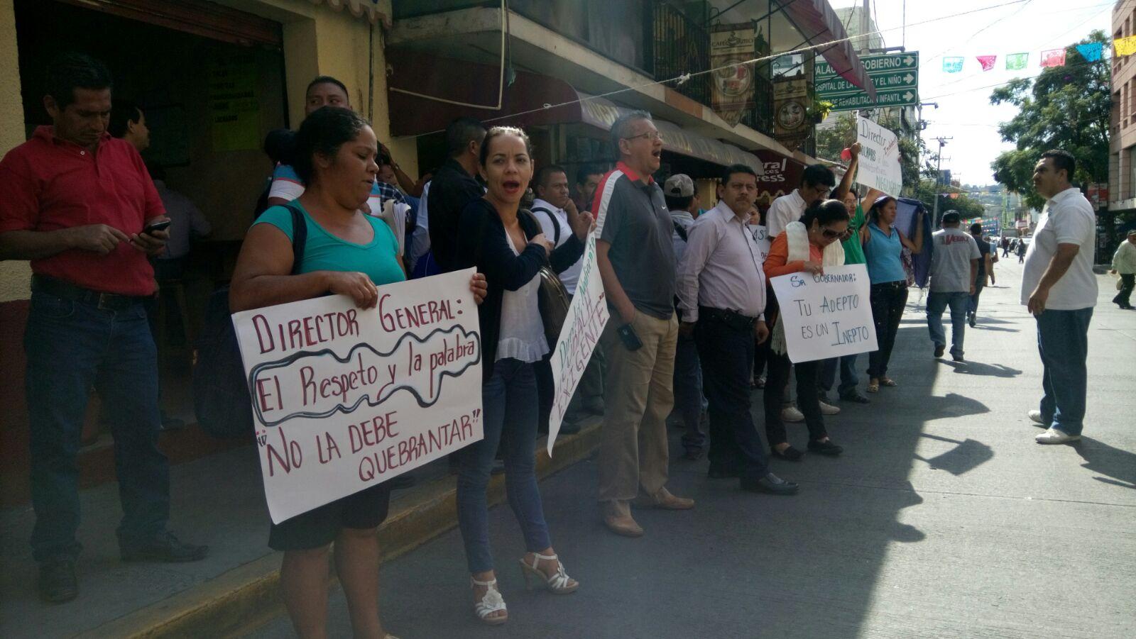 Durante la manifestación en la mañana.