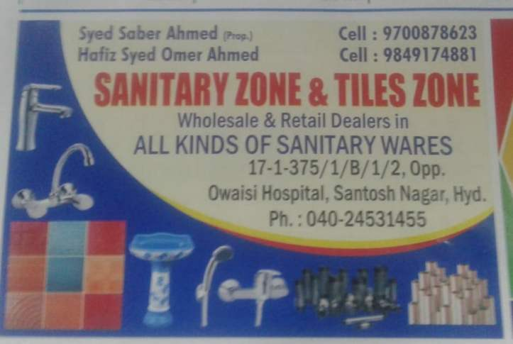 Sanitary Zone & Tiles Zone Santoshnagar hyderabad sanitary shops