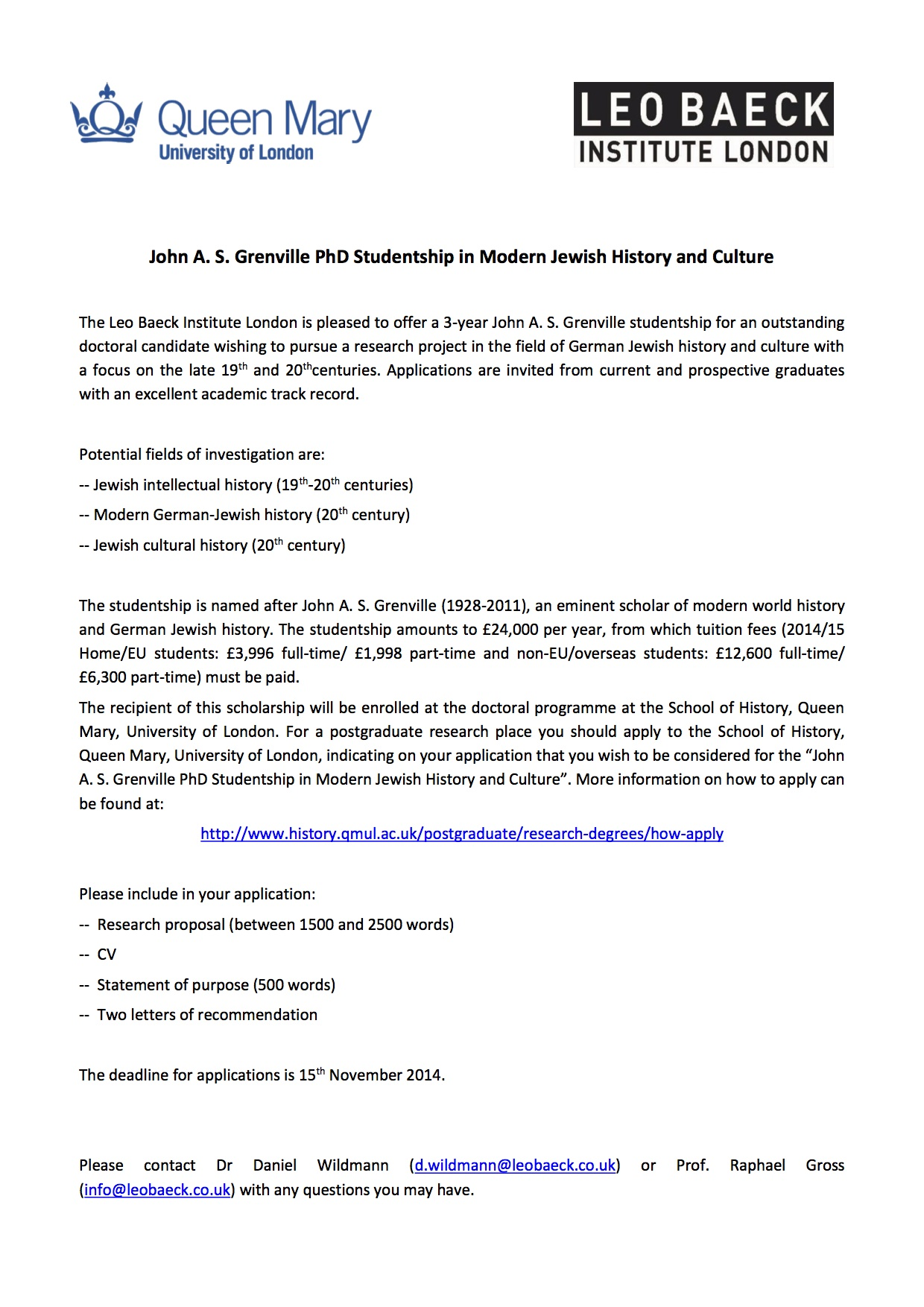 John A S Grenville PhD Studentship in Modern Jewish History and Culture Leo Baeck Institute