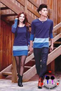 Dress Kombinasi Biru
