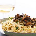 Vegan Pasta Carbonara with Shiitake Bacon