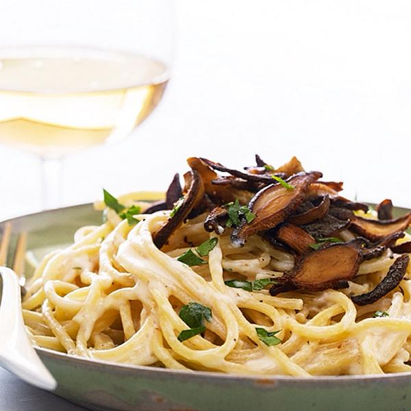 Viva Vegan Pasta Carbonara with Shiitake Bacon