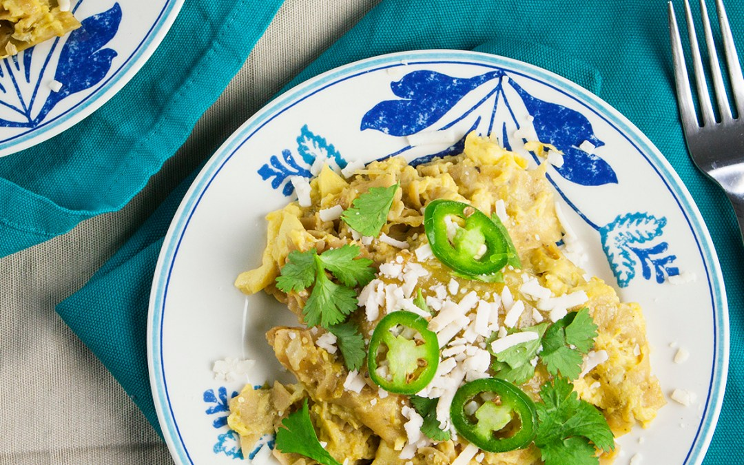Vegan Chilaquiles Verdes Recipe featuring Follow Your Heart VeganEgg
