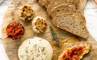 Blissful Basil: Herbed Cashew Cheese Plate with Spicy Tomato Jam + Roasted Garlic