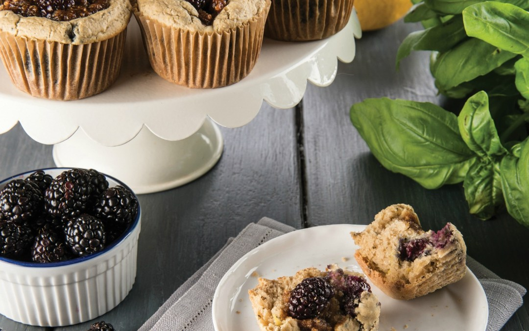 Sweet, Savory, & Free: Lemon Streusel Basil Blackberry Muffin Recipe
