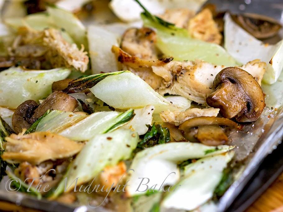 Roasted Bok Choi with Mushrooms & Chicken #JustAdTyson #ad #cbias #shop #HealthyDinnerRecipes