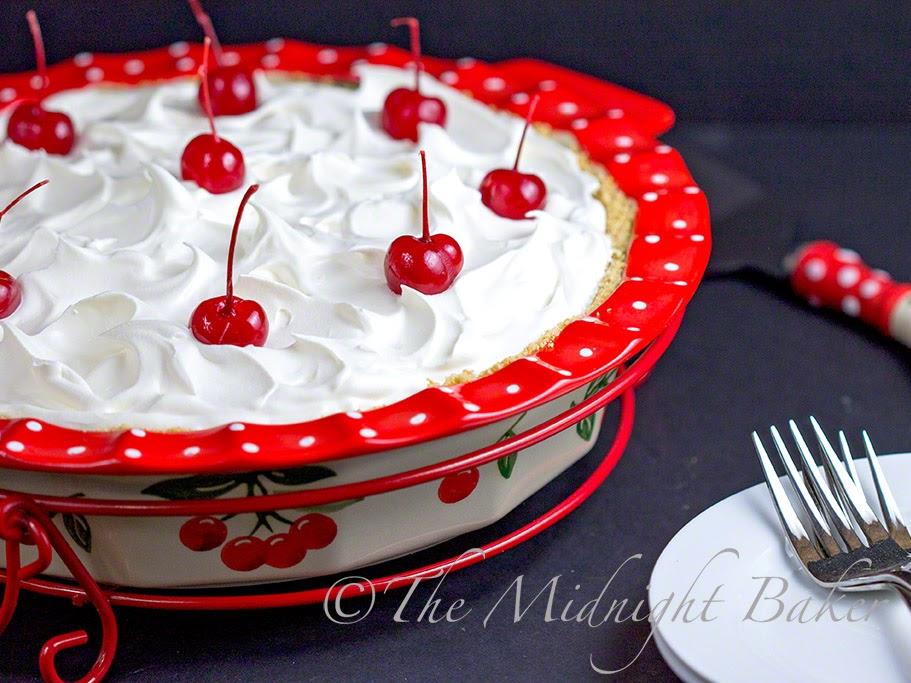 No Bake Cherries Jubilee Pie #NoBakePies #CherryPie #ChiffonPie #NoBakeCherryPie #TemptationsByTara