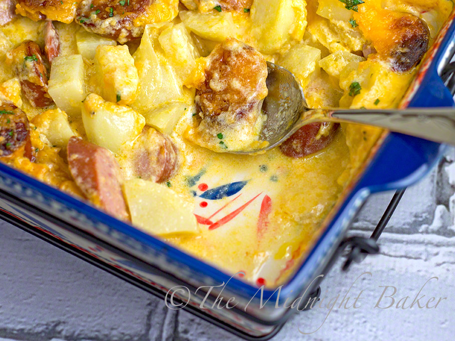 Cheesy Kielbasa Potato Casserole #lkielbasa #casserole #KielbasaPotatoCasserole #TemptarionsByTara #Fireworkfetti