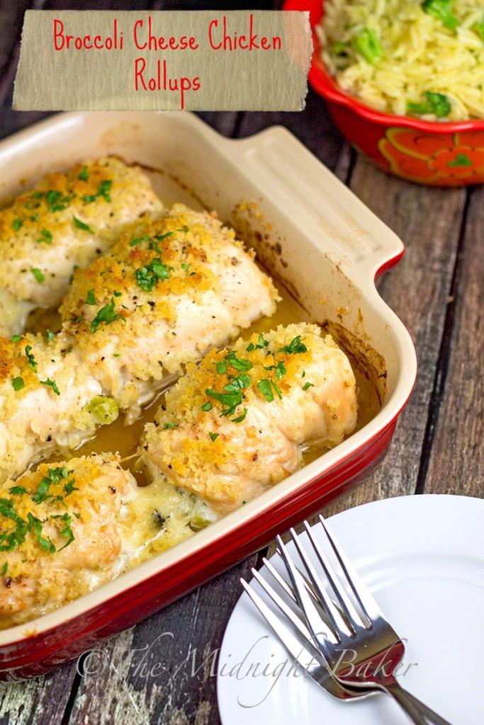 Broccoli Cheese Chicken Rollups | bakeatmidnite.com | #chicken #stuffedchickenbreast #easyfamilydinners