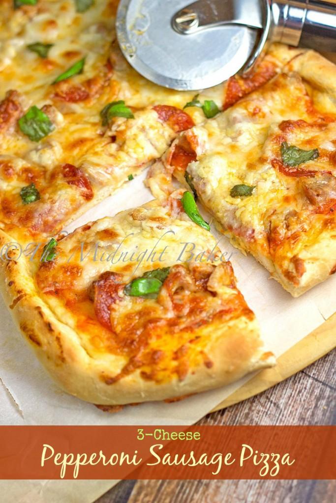 3-Cheese Pepperoni & Sausage Pizza   bakeatmidnite.com   #pizza #sausage #pepperoni