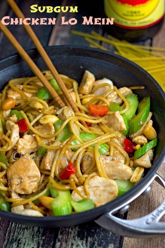 Subgum Chicken Lo Mein   bakeatmidnite.com   #chicken #lomein #pasta