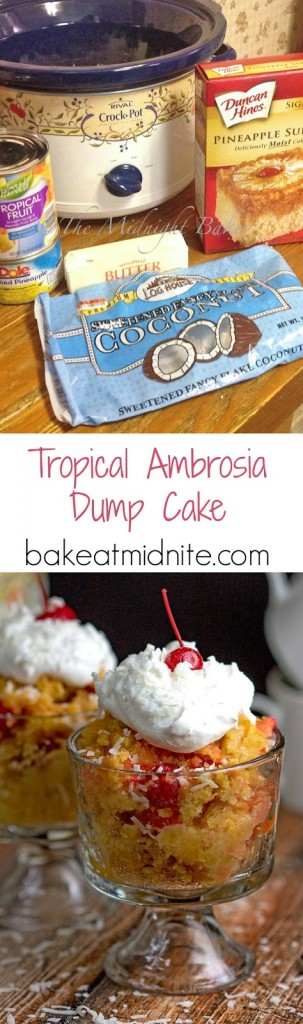 Tropical Ambrosia Dump Cake   bakeatmidnite.com   #slowcooker #crockpot #ambrosia #dumpcake