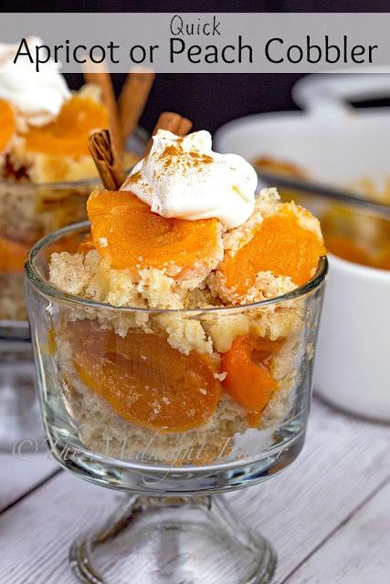 Quick Apricot or Peach Cobbler   bakeatmidnite.com   #fruitcobbler #cannedfruit #dessert