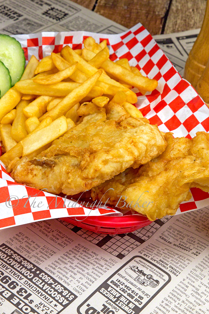 Traditional British-style fish and chips