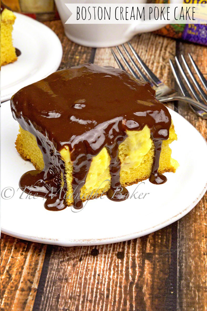 This Boston cream poke cake has layers of pound cake, creamy vanilla pudding and is topped off with a rich yet easy chocolate ganache.