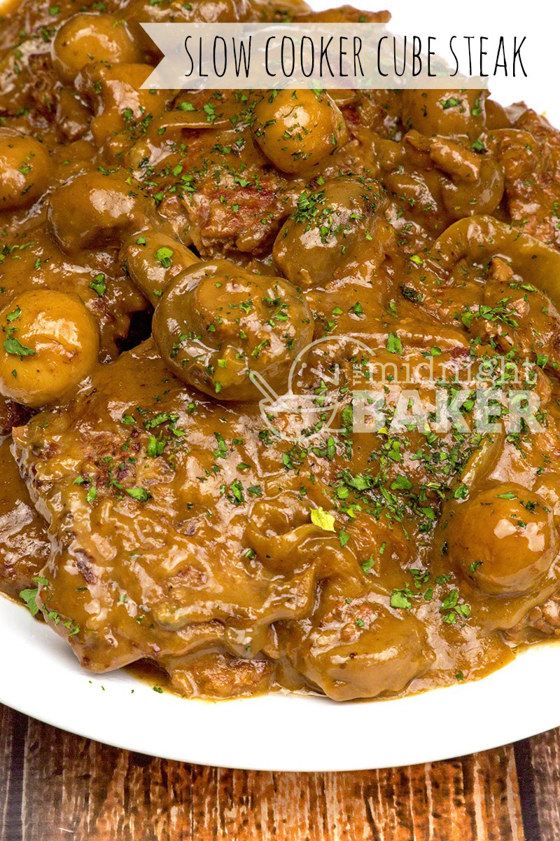 These beef cube steaks cook low and slow in your crockpot. Flavorful gravy uses no onion soup mix!