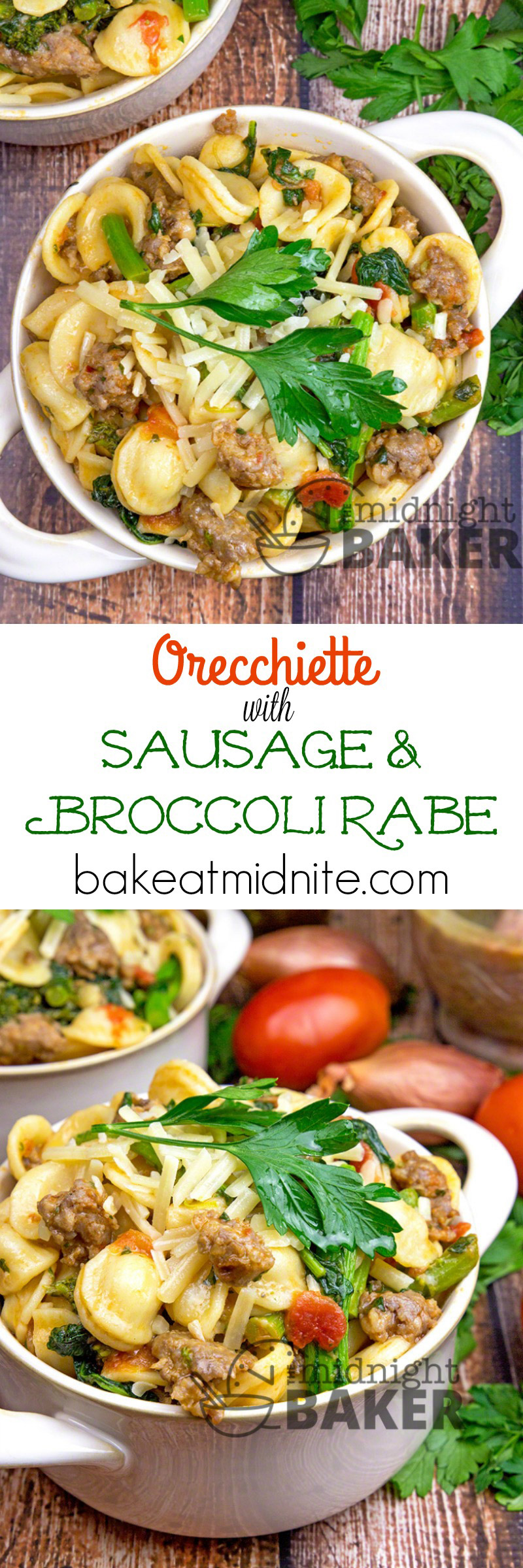 Hearty orecchiette pasta mixed with tomatoes, herbs, sausage and broccoli rabe (rapini) is a rustic and flavorful meal that's easy to prepare!
